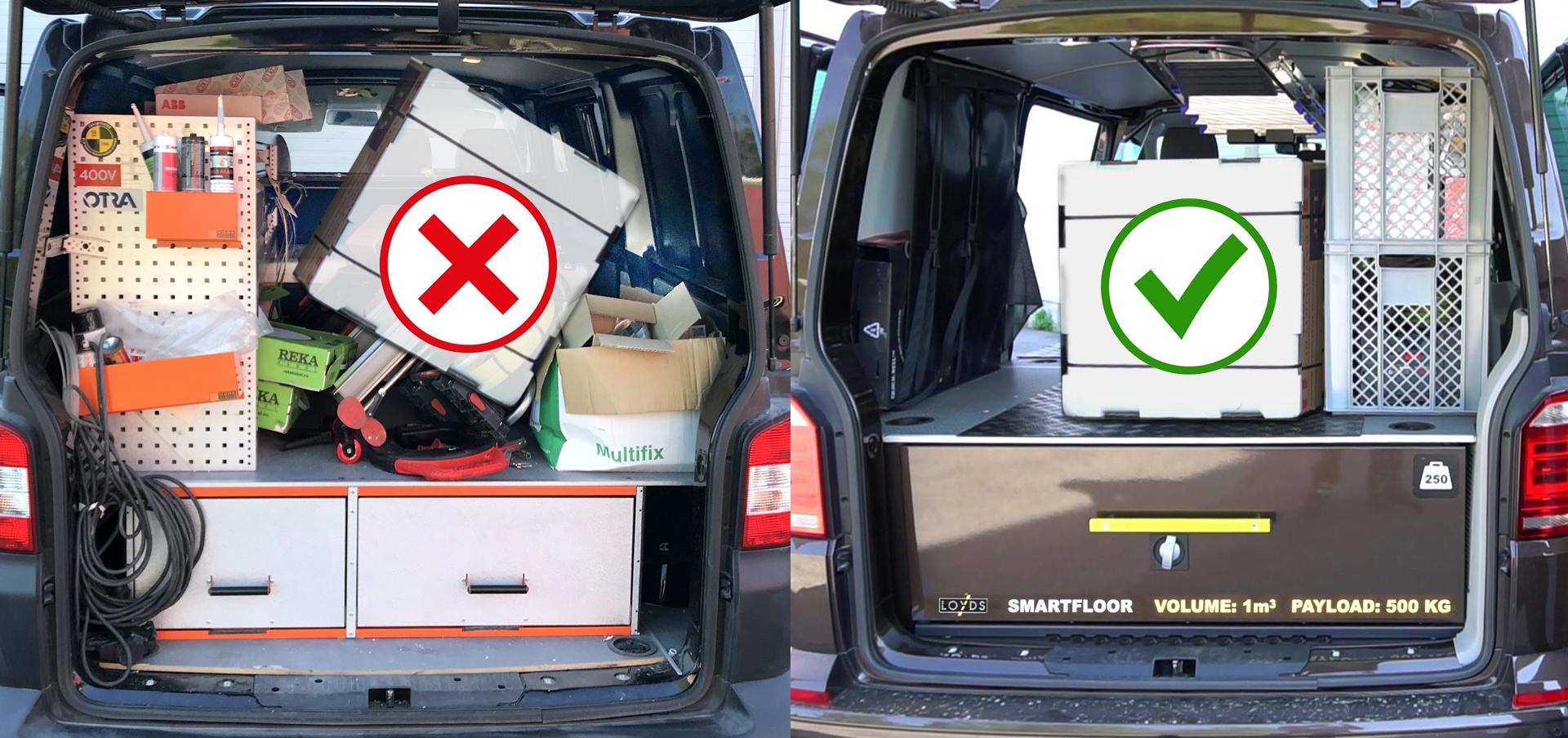 Laste små og store gjenstander - Slik får du plass til alt i varebilen